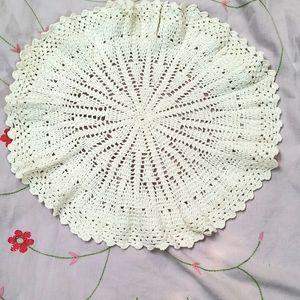 Crochet round mat .. handmade work ..set of 4